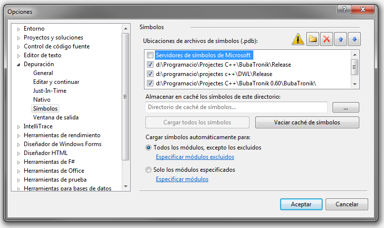 Depuración con VisualStudio 2010